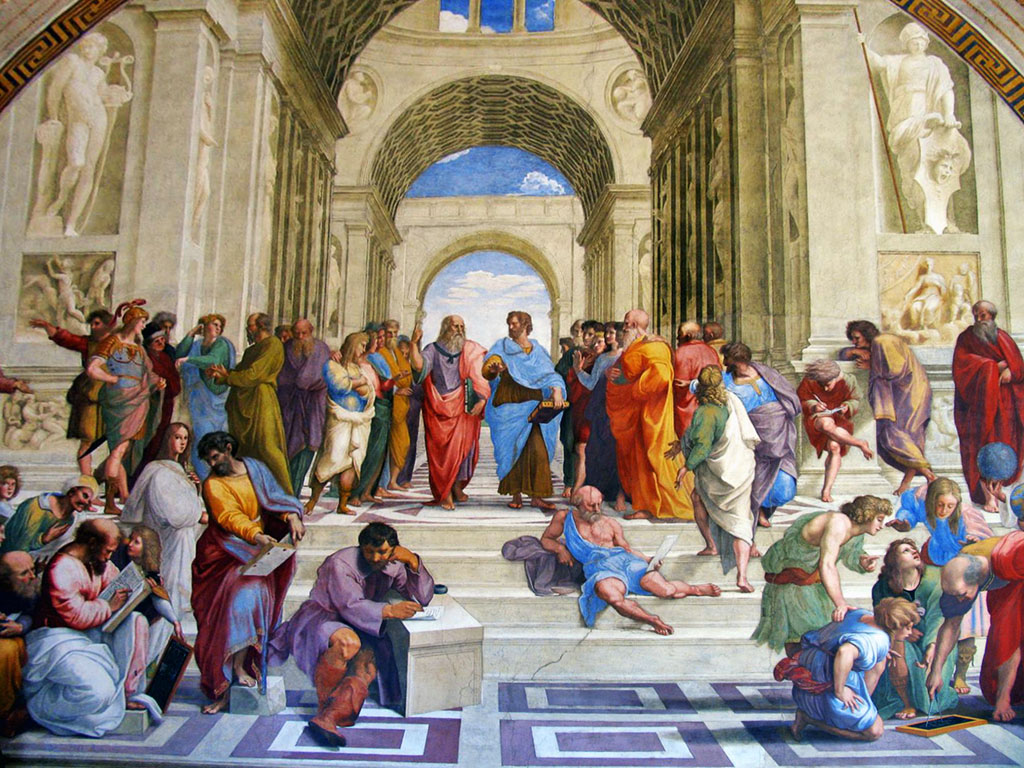 school of athens painted by raphael The famous`school of athens' by raphael, painted between 1510-1511 ce, depicting all of the major philosophers of antiquity with plato and aristotle at the centre (vatican museums, rome) license based on wikipedia content that has been reviewed, edited, and republished original image by.